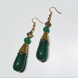 Large green jade Victorian style earrings